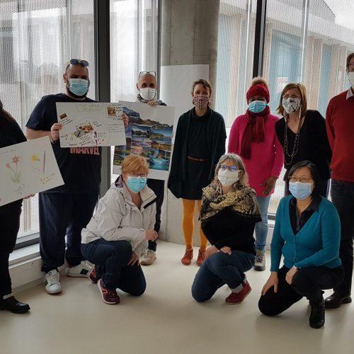 Participants, référents de la Maison de L'emploi du Pays Voironnais et Maud Brefort à l'issue de la dernière matinée des ateliers. Décembre 2021.